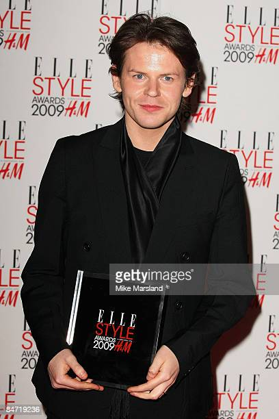 Christopher Kane poses in the Press Room with his award for British Designer at the Elle Style Awards 2009 at Big Sky Studios on February 9, 2009 in...