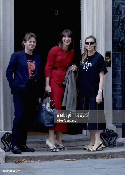 Christopher Kane Samantha Cameron and Tammy Kane arrive for a London Fashion Week reception hosted by Prime Minister Theresa May at Downing Street on...