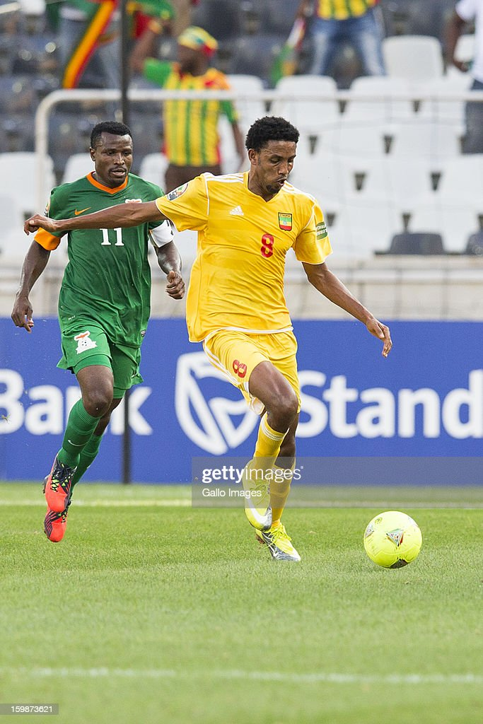 Christopher Katongo and Gobena Asrat Megersa during the 2013 Orange African Cup of Nations match between Zambia and Ethiopia from Mbombela Stadium on January 21, 2012 in Nelspruit, South Africa