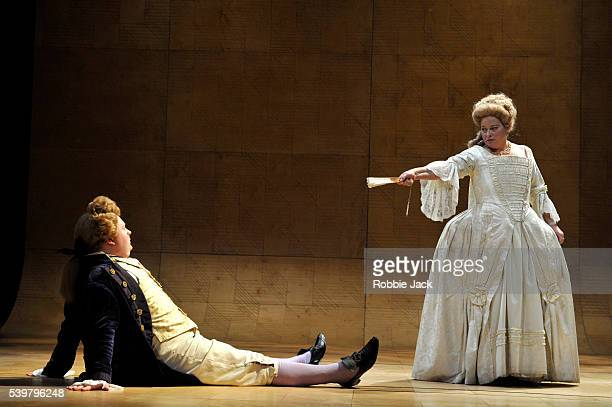 Christopher Keegan as the Prince of Wales and Beatie Edney as Queen Charlotte in The Peter Hall Company's production of Alan Bennett's The Madness of...