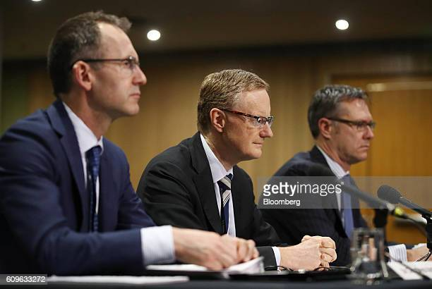 Christopher Kent assistant governor of of the Reserve Bank of Australia from left Philip Lowe governor and Guy Debelle deputy governor attend a...