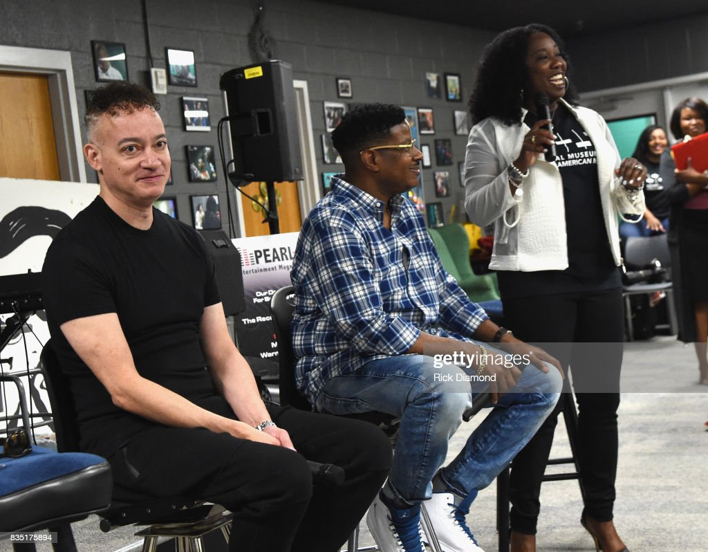 Christopher 'KID' Reid and Christopher 'PLAY' Martin attend NMAAM Music Legends and Heroes Hip Hop Duo Kid 'N Play Visit Pearl Cohn High School on August 18, 2017 in Nashville, Tennessee.