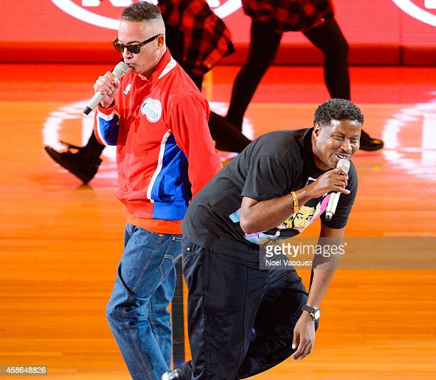 "Christopher ""Kid"" Reid and Christopher ""Play"" Martin of Kid 'n Play perform during halftime at a basketball game between the Portland Trail Blazers..."