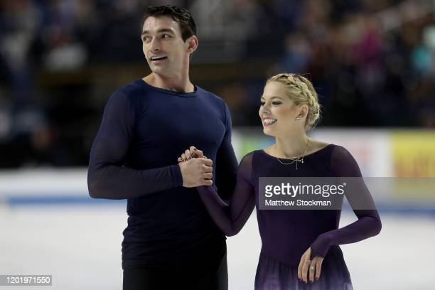 Christopher Knierim and Alexa Knierim leave the ice after skating in the Pairs Free skate during the 2020 U.S. Figure Skating Championships at...