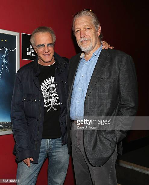 Christopher Lambert and Clancy Brown attend a special screening of the recently restored 'Highlander' film at Prince Charles Cinema on June 26 2016...