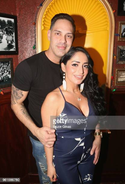 Christopher Larangeira and fiancee Angelina Pivarnick pose as Pivarnick promotes Jersey Shore Family Vacation as she visits Buca di Beppo Times...