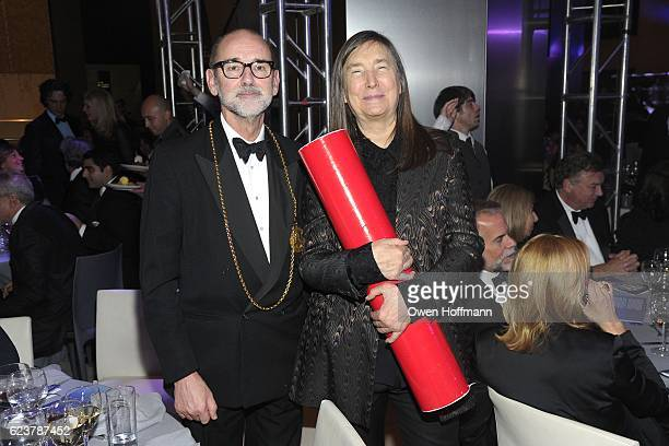 Christopher Le Brun and Jenny Holzer attend Royal Academy America Gala Honoring Norman Foster and Jenny Holzer at Hearst Tower on November 15 2016 in...