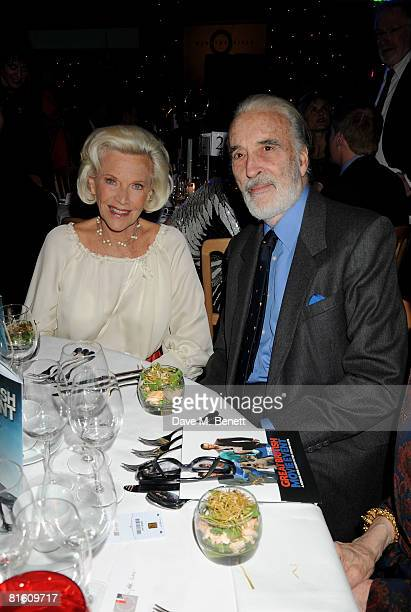 Christopher Lee and Honor Blackman attend The Great British Movie Event in aid of the National Film and Television School at the Old Billingsgate on...