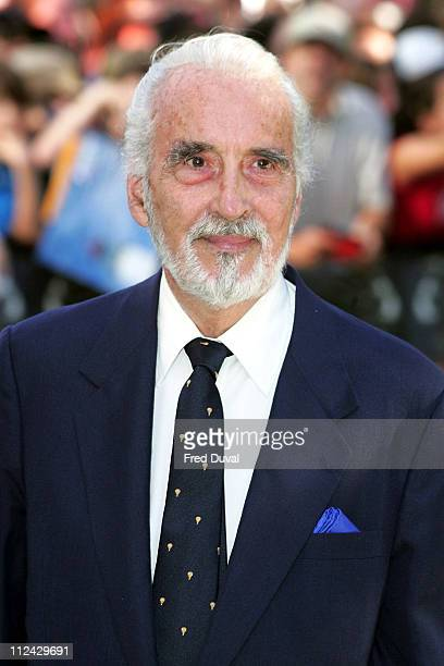 Christopher Lee during 'Charlie and the Chocolate Factory' London Premiere at Odeon Leicester Square in London United Kingdom