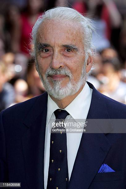 Christopher Lee during Charlie and the Chocolate Factory London Premiere at Odeon Leicester Square in London United Kingdom