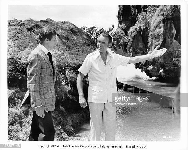 Christopher Lee invites Roger Moore into his island home in a scene from the film 'The Man With The Golden Gun' 1974