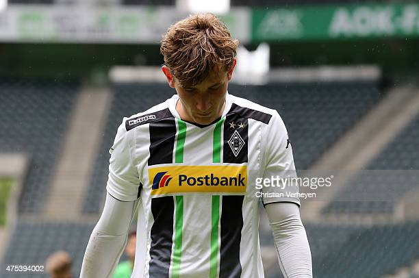 Christopher Lenz of Borussia Moenchengladbach looks dejected after the 3 Liga Playoffs match between Borussia Moenchengladbach II and Werder Bremen...