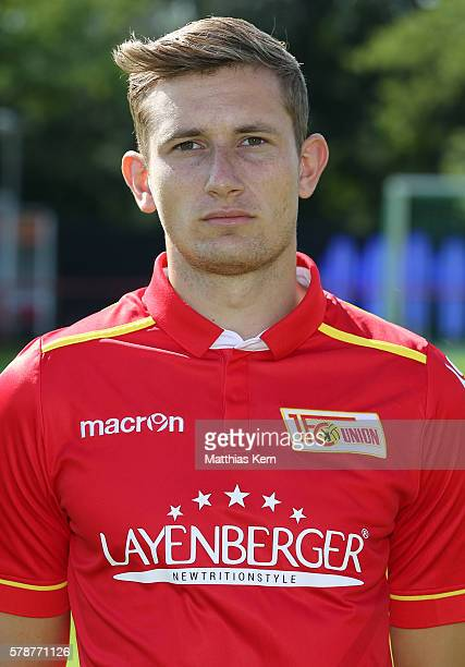 Christopher Lenz poses during the 1FC Union Berlin team presentation at Stadion an der Alten Foersterei on July 22 2016 in Berlin Germany