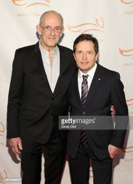 Christopher Lloyd and Michael J. Fox on the red carpet of A Funny Thing Happened On The Way To Cure Parkinson's benefitting The Michael J. Fox...