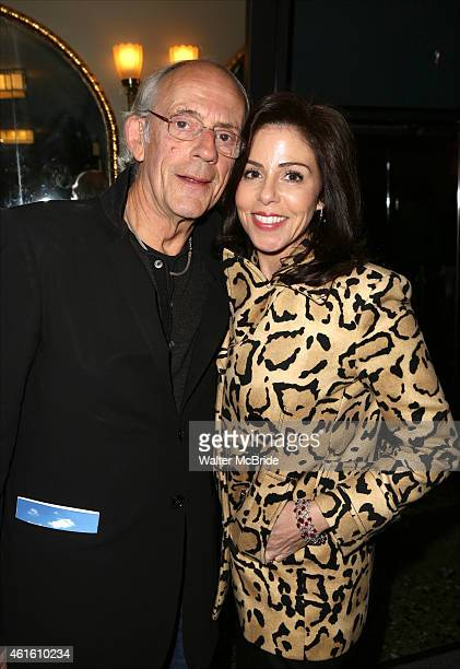 Christopher Lloyd and wife Jane Walker Wood as they leave the backstage Taxi cast reunion after the Broadway opening night performance of 'Honeymoon...