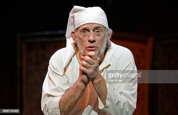 Christopher Lloyd plays the role of Scrooge during the dress rehearsal of stage play A Christmas Carol based on the story by Charles Dickens at Kodak...