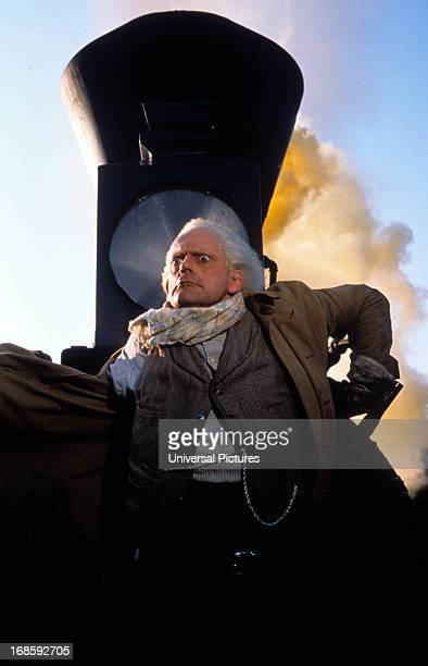 Christopher Lloyd with a look of shock in a scene from the film 'Back to the Future Part III' 1990