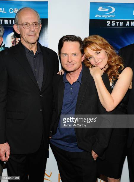 Christopher LloydMichael J Fox and Lea Thompson attend the 'Back To The Future' 25th anniversary Trilogy BluRay release celebration>> at Gustavino's...