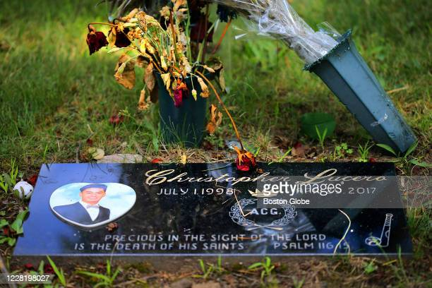 Christopher Lucero's grave in the North Burial Ground in Providence, RI is pictured on July 16, 2020. Christopher Lucero was killed by a driver who...