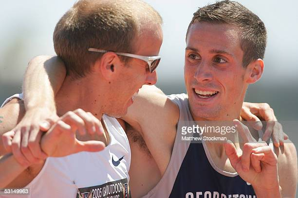 Christopher Lukezic hugs Alan Webb after Webb won the Men 1500 meter Run at the 2005 USA Outdoor Track and Field Championships on June 25, 2005 at...