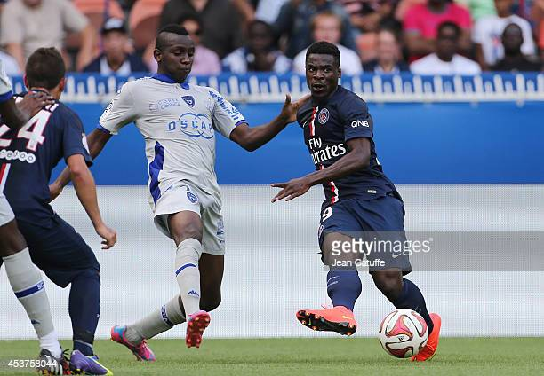 Christopher Maboulou of Bastia and Serge Aurier of PSG in action during the French Ligue 1 match between Paris Saint Germain FC and SC Bastia at Parc...