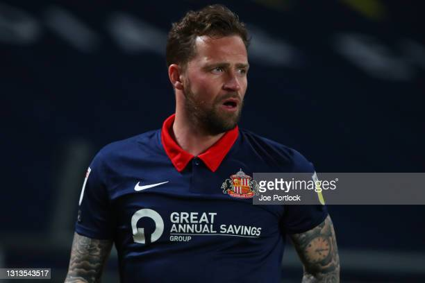 Christopher Maguire of Sunderland seen during the Sky Bet League One match between Hull City and Sunderland at KCOM Stadium on April 20, 2021 in...