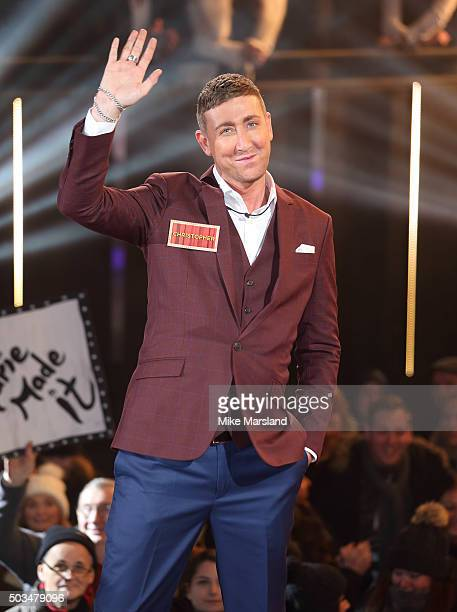 Christopher Maloney enters the Celebrity Big Brother House at Elstree Studios on January 5 2016 in Borehamwood England
