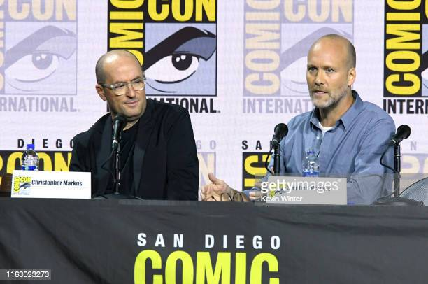 Christopher Markus and Stephen McFeely speak at the Writing Avengers Endgame Panel during 2019 ComicCon International at San Diego Convention Center...