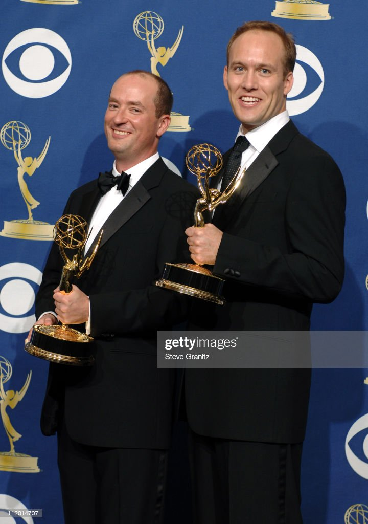 Christopher Markus and Stephen McFeely, winners Outstanding Writing for a Miniseries, Movie or Dramatic Special for 'The Life and Death of Peter Sellers'