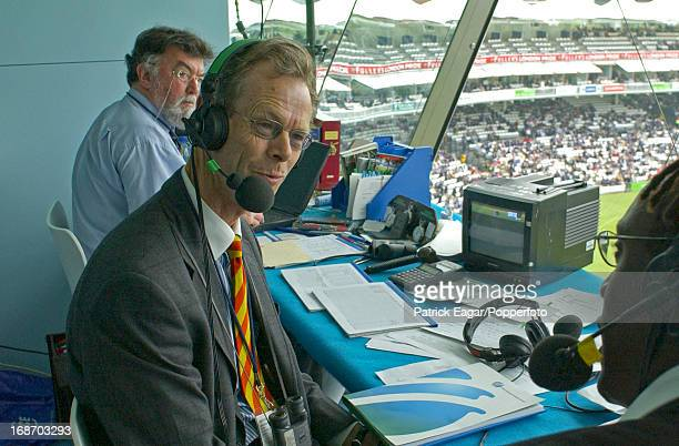 Christopher Martin-Jenkins with Henry Olonga, Bill Frindall in the background, 1st Test England v Zimbabwe at Lord's 2003.