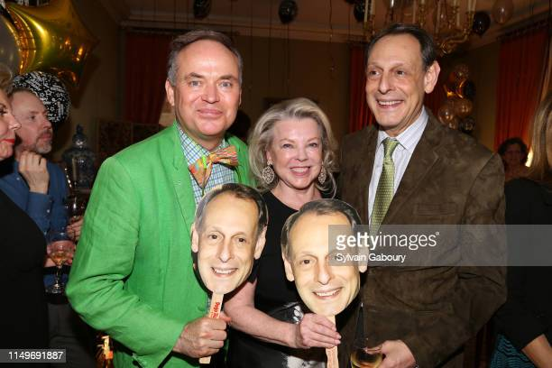 Christopher Mason, Jeanne Lawrence and Jonathan Marder attend Jonathan Marder's Surprise Sixtieth Birthday Party at Private Residence on May 16, 2019...