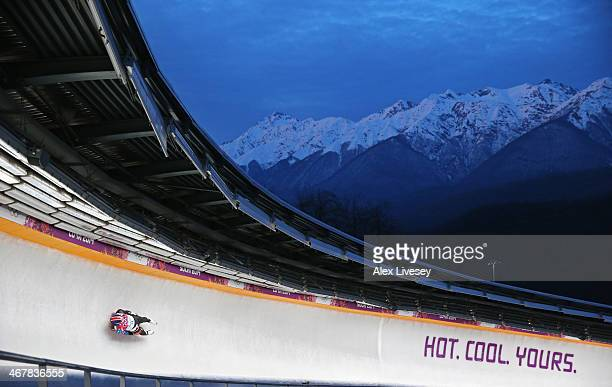 Christopher Mazdzer of the United States makes a run during the Luge Men's Singles on Day 1 of the Sochi 2014 Winter Olympics at the Sliding Center...