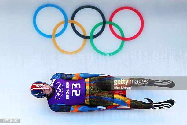 Christopher Mazdzer of the United States makes a run during the men's luge training session ahead of the Sochi 2014 Winter Olympics at the Sanki...
