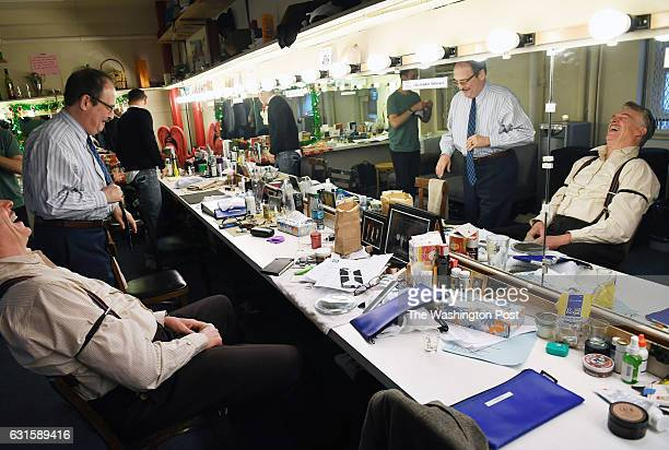 Christopher McDonald seated and Lewis J Stadlen standing are seen in their dressing room backstage before a matinee of the broadway play 'The Front...