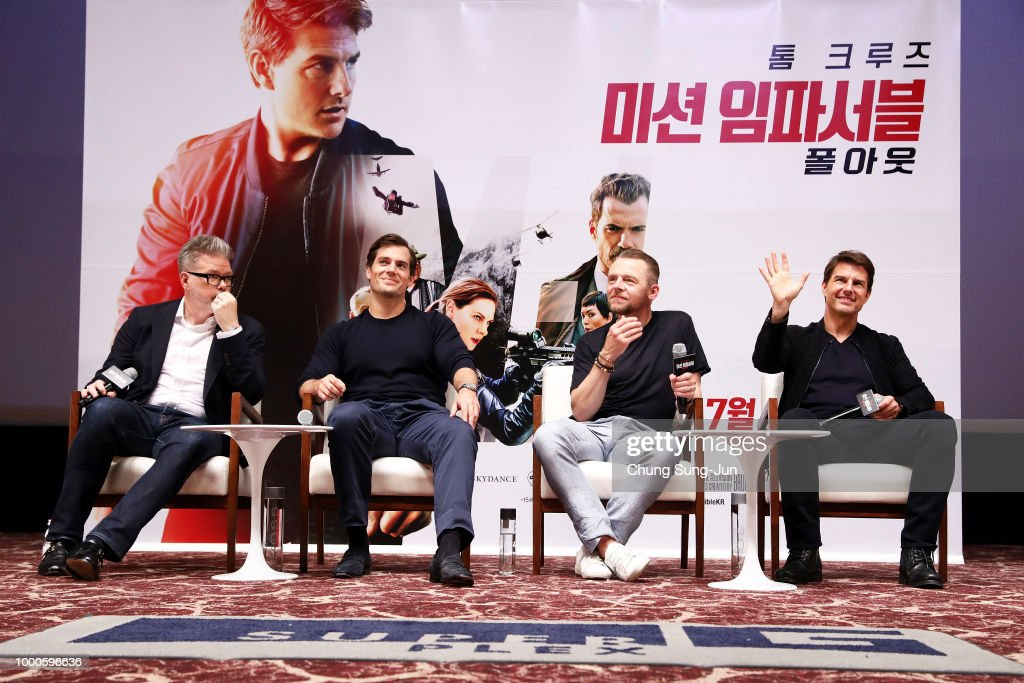 Christopher McQuarrie, Henry Cavill, Simon Pegg and Tom Cruise make a special theater visit at the 'Mission: Impossible - Fallout' Seoul Screening at Lotte Cinema on July 17, 2018 in Seoul, South Korea .
