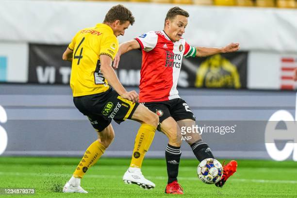 Christopher McVey of Elfsborg, Jens Toornstra of Feyenoord during the UEFA Conference League play-offs match between IF Elfsborg and Feyenoord at...