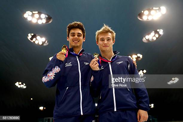 Christopher Mears and Jack Laugher of Great Britain pose with their gold medals after winning the Men's 3m Synchro Final on day five of the 33rd LEN...