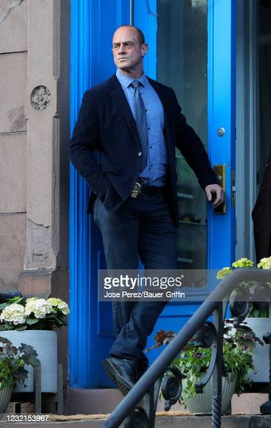 """Christopher Meloni is seen on the set of """"Law and Order: Organized Crime"""" on April 06, 2021 in New York City."""