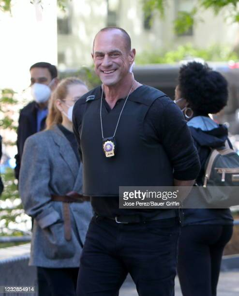"""Christopher Meloni is seen on the set of """"Law and Order Organized Crime"""" on May 12, 2021 in New York City."""