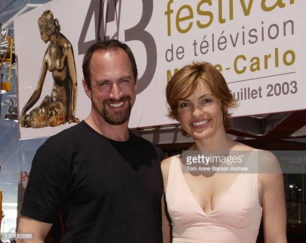Christopher Meloni Mariska Hargitay during 2003 Monte Carlo Television Festival Law Order SVU Special Victims Unit Portraits at Japanese Garden in...