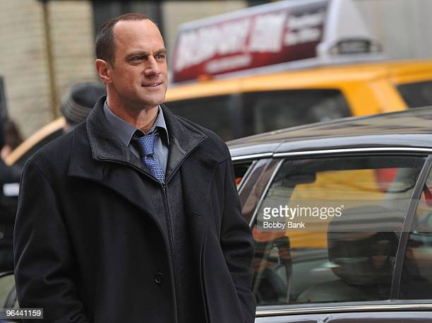 Christopher Meloni on location for Law Order SVU on the streets of Manhattan on January 26 2010 in New York City