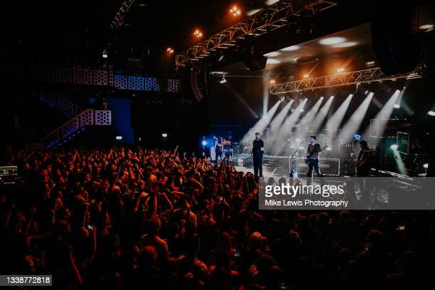 Christopher Miller, Josh Franceschi, Matt Barnes and Max Helyer of You Me At Six perform at O2 Academy Bristol on September 06, 2021 in London,...