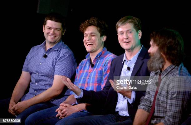 Christopher Miller Phil Lord Bill Lawrence and Will Forte speak onstage during the 'Clone High Reunion' panel part of Vulture Festival LA presented...