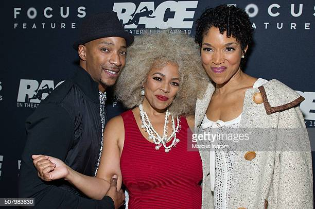 Christopher Morgan Kim Fields and Lisa Arrindell Anderson attends Race movie screening at Regal Atlantic Station on February 1 2016 in Atlanta Georgia