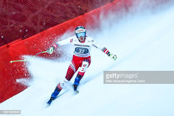 Christopher Neumayer of Austria in action during the Audi FIS Alpine Ski World Cup Men's Downhill Training on January 31, 2019 in Garmisch...