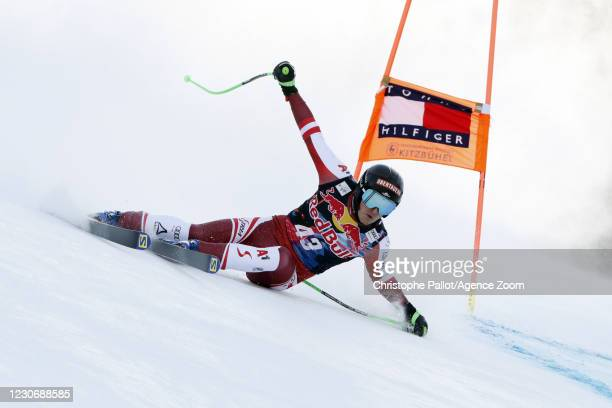 Christopher Neumayer of Austria in action during the Audi FIS Alpine Ski World Cup Men's Downhill Training on January 20 - January 21, 2021 in...