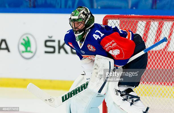 Christopher Nihlstorp Goaltender of Växjö Lakers changed the helmet for the second period during the Champions Hockey League group stage game between...