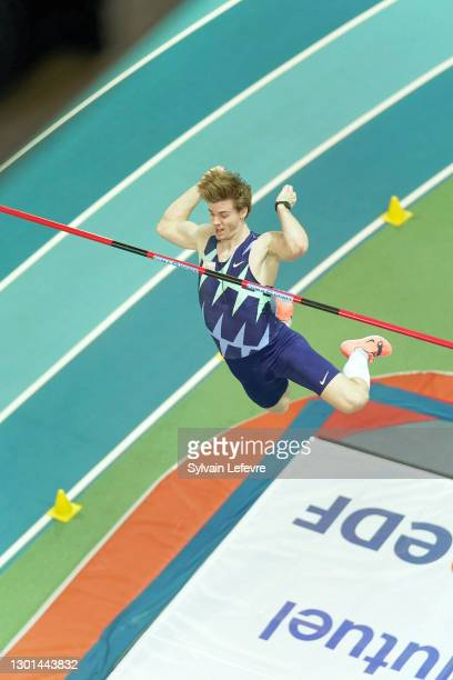 Christopher Nilsen of the United States competes in the Men's Pole Vault during the World Athletics Indoor Tour at Arena Stade Couvert on February 9,...