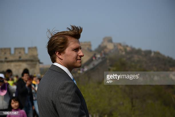 Christopher Nixon Cox the grandson of former US president Richard Nixon visits the Great Wall in Beijing on May 4 2013 The visit commemorates the...