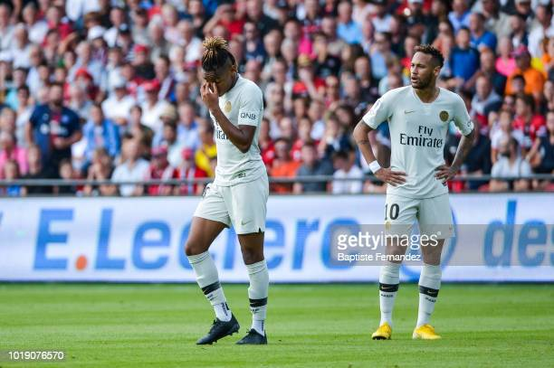 Christopher Nkunku and Neymar Jr of Paris Saint Germain during the French Ligue 1 match between EA Guingamp and Paris Saint Germain at Stade du...